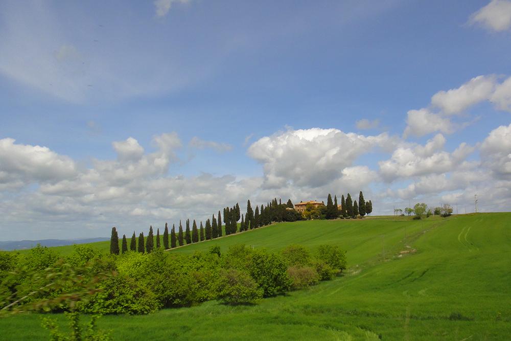 Casas de pedra e os ciprestes nas colinas, típica imagem da Toscana.