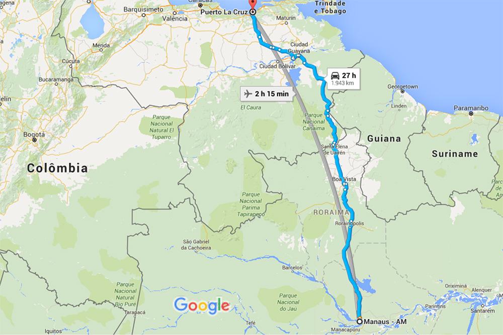 de Manaus - AM a Puerto la Cruz, Anzoátegui, Venezuela - Google