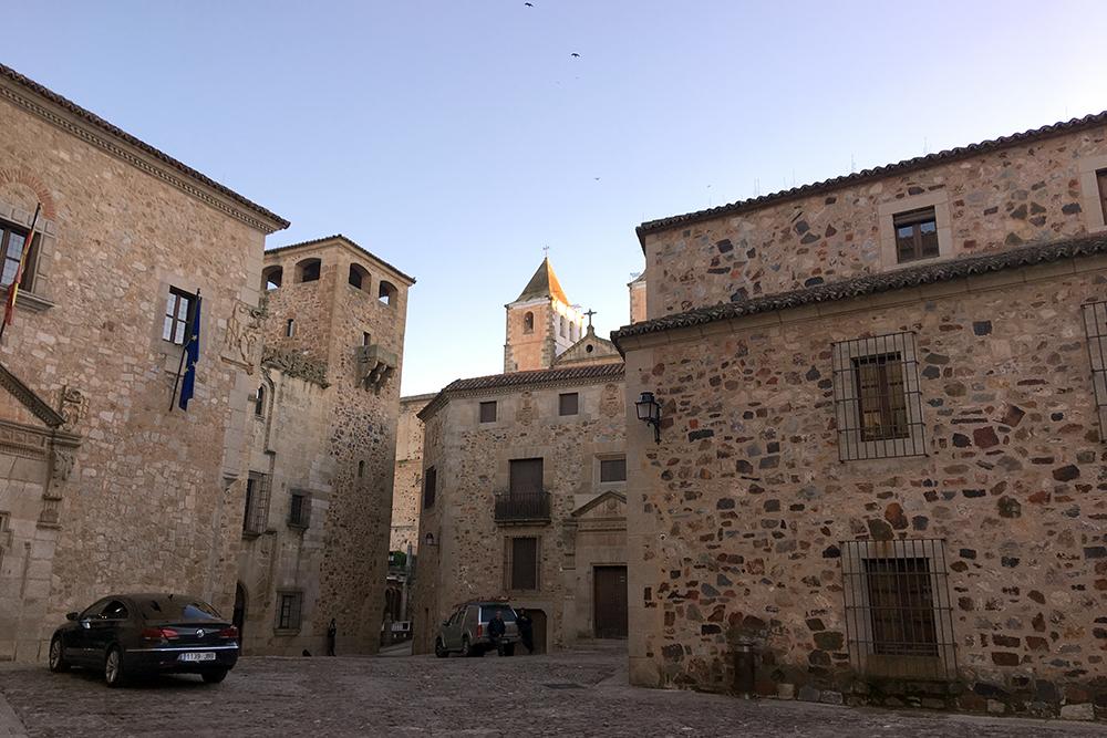 A arquitetura medieval de Cáceres.